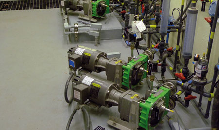 As peristaltic pumps are true positive displacement pumps, they will deliver a c
