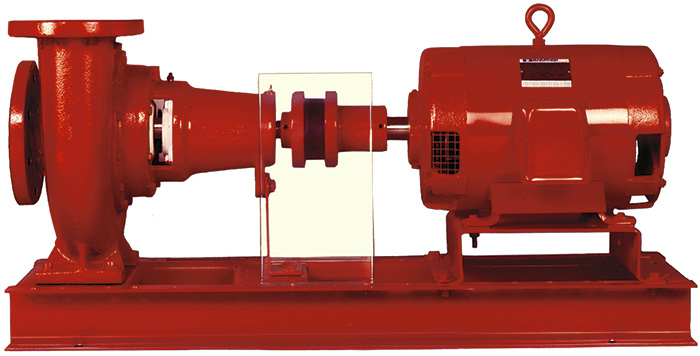This coupling is used to connect a centrifugal pump to an electric motor.