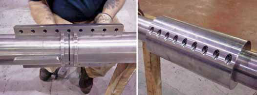 New shafts and shaft coupling components during and after assembly