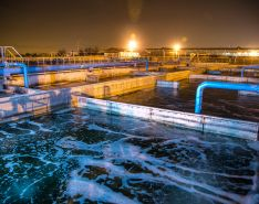 Wastewater treatment plant at night