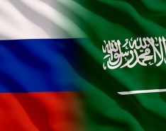 Russian flag and Saudi flag