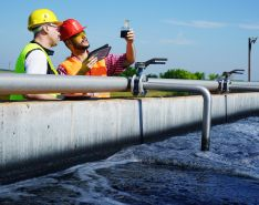 engineers test wastewater